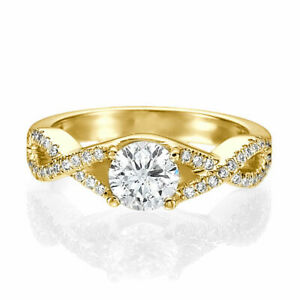 1.25 CT H/VS1 Real Round Cut Diamond Engagement Ring 18K Yellow Gold