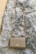NWT Tory Burch Robinson Leather Chain Wallet Crossbody Clutch Bag , Light Gray