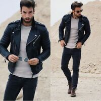 Men's Genuine Lambskin Quilted Leather Motorcycle Jacket Slim fit Biker Jacket