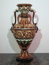 """Antique Majolica Two-Handled Renaissance Style Vase #905 12 1/4"""" Tall"""