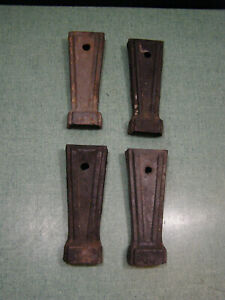 """Vintage Cook Stove Cast Iron 5-1/4""""Legs Industrial Furniture Salvage Set Of 4"""