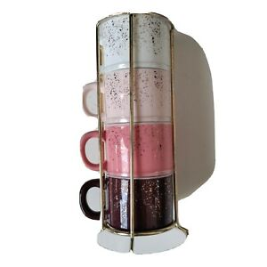 Frankie Grey Expresso Mini Stackable Mugs In Stand Brown White Pink W/Gold