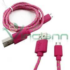 Cavo dati Tessuto Nylon FUCSIA per HTC One M8 mini USB carica e sincronizza