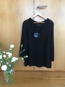 Cost £65! Fabulous DASH ladies' size 22 navy, heavy-knit jumper with 3/4 sleeves