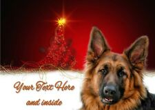 GERMAN SHEPHERD GSD ALSATION CHRISTMAS CARD Personalised & illustrated in & out