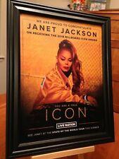 "2 BIG 10x13 FRAMED JANET JACKSON ""2018 ICON AWARD"" TRIBUTE LP ALBUM CD PROMO ADS"