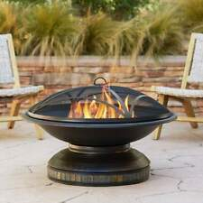 "Outdoor Fire Pit Round 35"" Spark Screen Backyard Patio Camping Wood Burning"