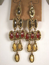Lucky Brand Red, Amber & Gold Colored Stones Gold Tone Chandelier Earrings