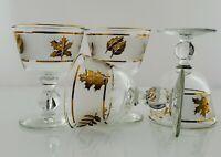 Vintage Gold Leaf Foliage Liquor Cocktail Glasses Libbey Mid Century Barware -4