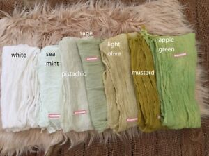 Hand dyed Gauze Cotton GREEN Shades Cheesecloth Baby Wrap Newborn Photo Prop