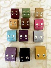 Lot Set 12 Cuffs -12 Colors -Wide Leather Bracelets-Wristbands-DIY-Craft-Jewelry