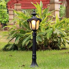 Retro Black Metal Pillar Lanterns Outdoor Lawn Coach Light 1 Light Garden Lamp