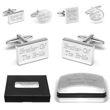 Personalised Wedding Favour BROTHER OF THE BRIDE Cuff Links & Engraved Gift Box