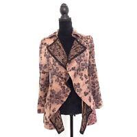 Womens Brown Black Size S Lace Patterned Open Blazer Jacket Pockets