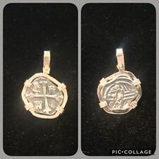 Atocha Silver Coin Pendant With 14K Gold Bezel Women's Small 1 Reale Replica KW