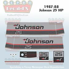 1987-88 Johnson 25 HP Sea-Horse Outboard Reproduction 11 Pc Marine Vinyl Decals