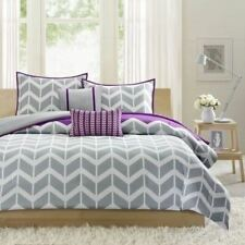 Twin Xl Full Queen Bed Gray Grey Purple White Chevron Zig Zag 5 pc Comforter Set
