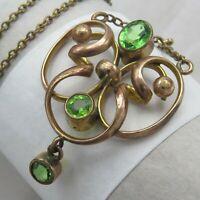 Antique Victorian Edwardian Gold GF Peridot Paste Lavaliere Pendant Necklace
