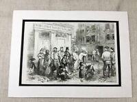 1856 Print Victorian London Old Street Scene Poor Poverty Slum Original Antique
