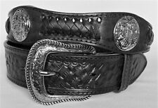 MEN'S BELTS casual dress western accessories BLACK LEATHER CONCHO BELT 42 NWOT!