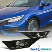 16-18 For Honda Civic Side Marker Signal Lights Smoke Replacement +T10 LED Bulbs