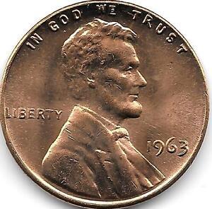 États-unis UNC 1963-P Lincoln Mémorial Cents