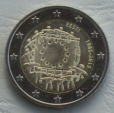 2 euro estonia 2015 30 años Europa bandera unz.