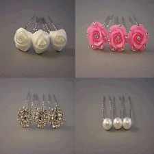 3 pieces Pearl, Crystal Flower, Pink or White Rose  Wedding Bridal Hair Pins