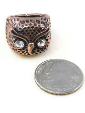 Copper Toned Stretch Owl Ring