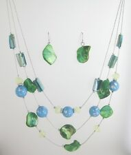 New 3 Row Shell Necklace With Green & Blue Beads & Matching Earrings #N2362