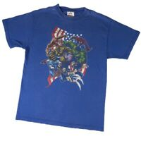 Vintage Y2k Marvel Graphic T Shirt Comic Tee Alstyle tag Blue Faded Medium