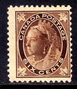 CANADA #71 6c BROWN, 1897 QV LEAF ISSUE, MLH