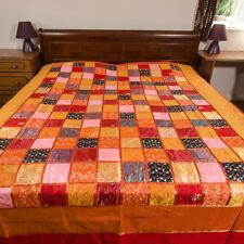 Stunning Indian Silk patchwork bedspread throw - 'Diamond Tukdi' red