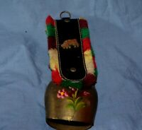 Swiss Vintage Souvenir Handpainted Brass Cow Bell From Switzerland Collectible