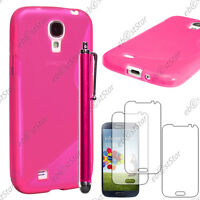 Housse Etui Coque Silicone Rose Samsung Galaxy S4 i9500 + Stylet + 3 Films