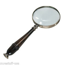 Magnifying Glass 3x with Wood Handle Bronzed Frame by Authentic Models AC099B