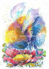 Watercolour Painting Art Print BEE LUCKY by Sophie Appleton replica of Original