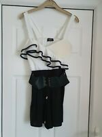 Lovely V London Black & Cream Strappy Tunic Top, Size 8/10, NWT