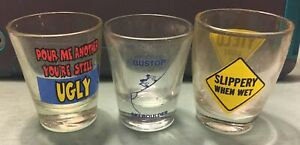 Vintage Shot Glasses Sexually Sayings (Lot Of 3)