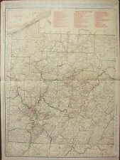 1922 LARGE MAP ~ PENNSYLVANIA ~ RAILROADS PRINCIPAL CITIES WESTERN RAND MCNALLY