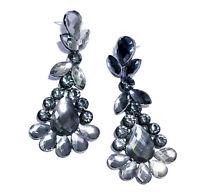 Chandelier Earrings Rhinestone Bridal Prom Pageant Crystal 2.9 inch Gray Drag