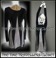 Kate Moss Topshop Black Silver Lurex Vintage 60s 70s Triangle Mini Dress UK10 12