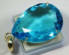 100 Ct IGI CERTIFIED Beautiful Untreated Pear Genuine Blue Aquamarine Pendent