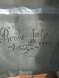 PAIRE TAIES d'OREILLER ANCIENNES Brodé muguet jours mono JB 70 x 65 cm