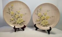 "Vintage Yellow Rose Pattern Texas Ware Melamine Dinner Plates 10"" MCM pair"