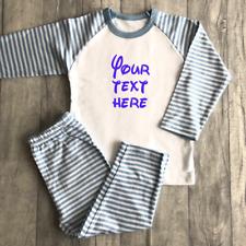 PERSONALISED CUSTOM PYJAMA SET Gift Boys Blue White Striped PJs Sleepover Party
