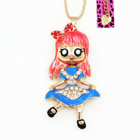 Betsey Johnson Enamel Crystal Bowknot Girl Doll Pendant Sweater Chain Necklace