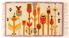 MODERNIST FLORAL Vintage Polish Folk Art Textile Wall Hanging / Rug Purple