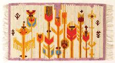 More details for modernist floral vintage polish folk art textile wall hanging / rug purple