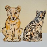 Ceramic Vase By Nina Lyman Nina's Ark Collection of Africa Animals Leopard Lion